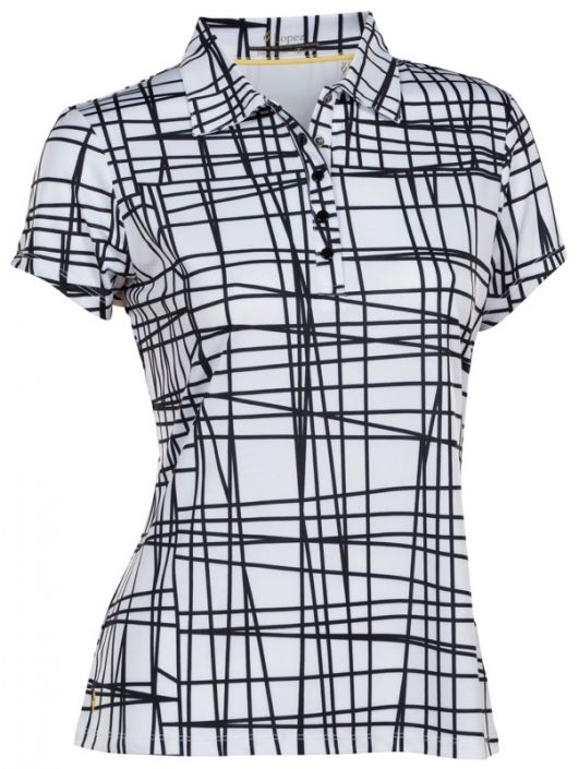 53a7346107595 Love Golf Shirts  Here s our Black White Nancy Lopez Ladies   Plus Size  Scribble Short Sleeve Golf Polo Shirt! Find plenty of Golf Outfits here at    ...
