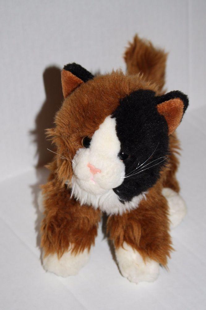 Toys R Us Calico Kitty Cat Plush Stuffed Soft Toy Black Brown White