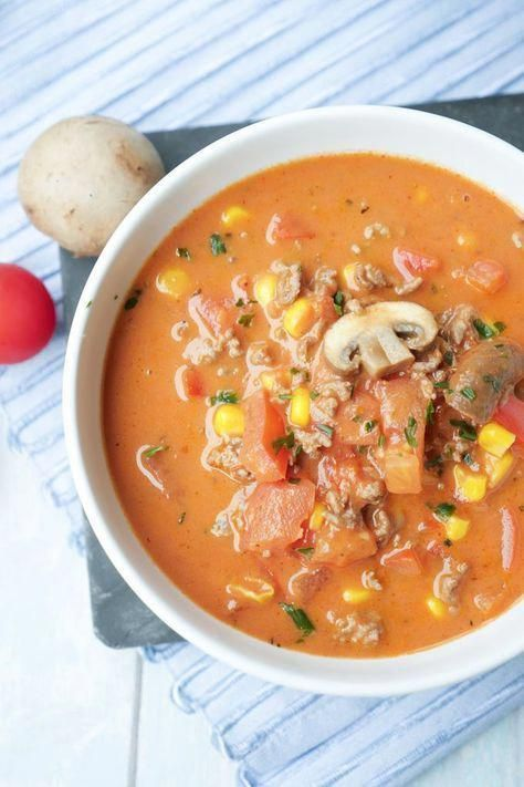 Low carb pizza soup - quickly made and really tasty -  Recipe for low carb pizza soup with peppers, mushrooms and corn – food blogger #suppenrezepte #So - #BestHealthyRecipes #carb #DairyFree #NutFree #PaleoMeals #pizza #quickly #really #Soup #Strawberries #StuffedPeppers #tasty #LowCarbDinnerMeals