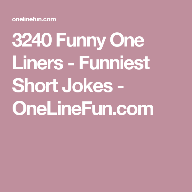 witty one liner jokes