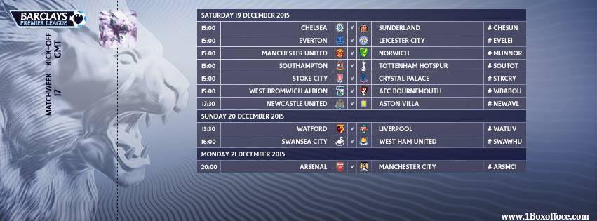 إليكم جدول مبارات الدوري الأنكليزي للأسبو ع ال 17 ...للتذاكر زوروا موقع www.1Boxoffice.com #tickets Here is the Premiere League fixture list for the Match-week 17 games. which match will you be watching this weekend? #BPL