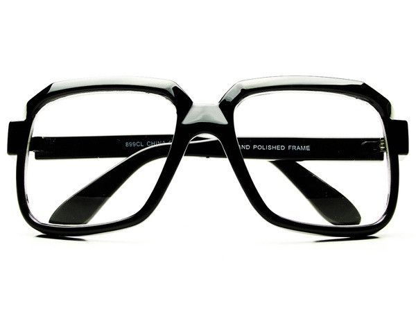 Retro Celebrity Style Square Clear Lens Glasses Black A51
