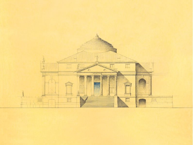 La Rotonda The Rotunda La Rotonde Pencil Drawing On Yellow Trace Paper By Giovanni Giaconi Www Epalladio Com Palladio Villa Andrea Palladio