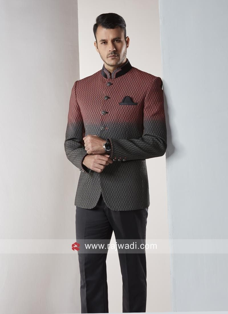 Stylish Peach And Grey Color Jodhpuri Suit Rajwadi Menswear