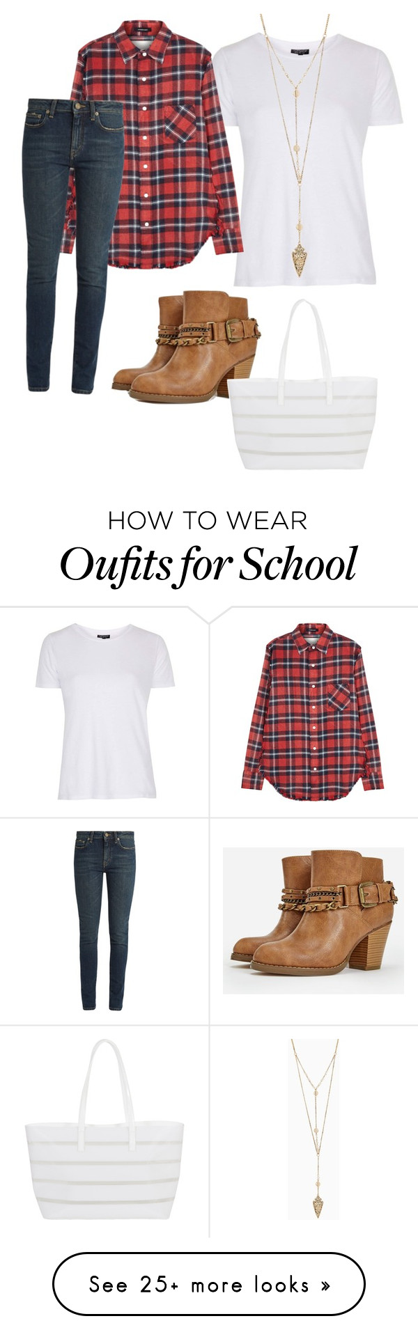 """""""School style"""" by ursula-cg on Polyvore featuring Topshop, R13, Yves Saint Laurent, JustFab and BUCO"""