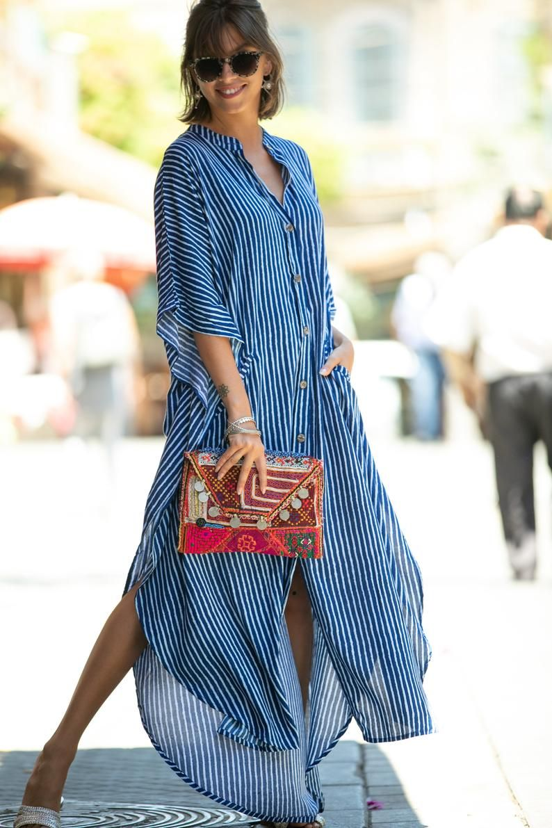Blue White Striped Oversize Kaftan Dress Bohemian Hipster Buttoned Caftan With Pockets Summer Urban Vacation Hippie Plus Size Maxi Dress Kaftan Dress Maxi Dress African Fashion Dresses [ 1191 x 794 Pixel ]
