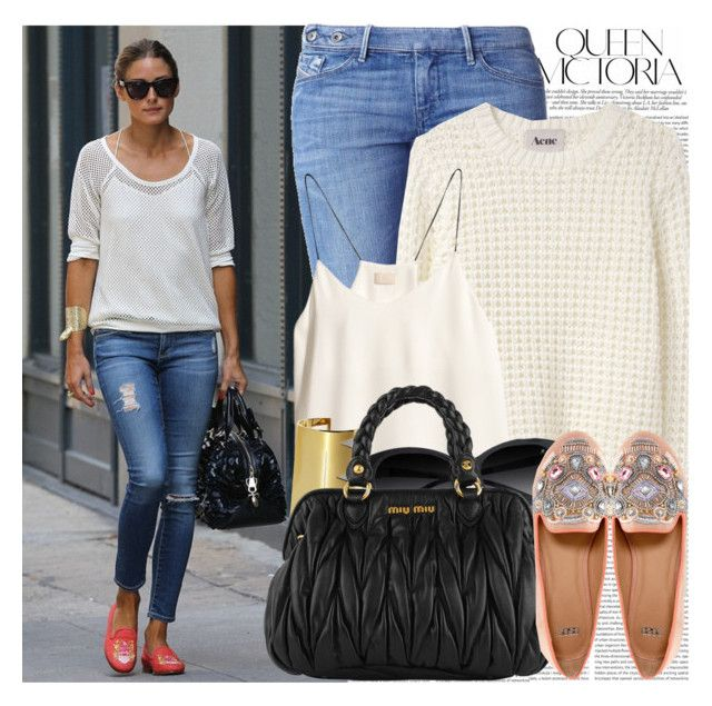"""""""1051. Celebrity Style: Olivia Palermo"""" by chocolatepumma ❤ liked on Polyvore featuring Victoria Beckham, Oris, Diesel, Acne Studios, H&M, Vince Camuto, GUESS by Marciano, Miu Miu and ASOS"""