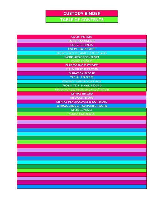 Child Custody Binder Printable Excel Spreadsheet Kara Cromwell More