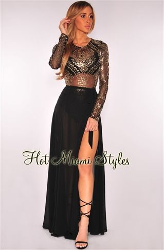 bbdce139ca Black Sheer Gold Victorian Sequins Bodysuit Womens clothing clothes hot  miami styles hotmiamistyles hotmiamistyles.com sexy club wear evening  clubwear ...