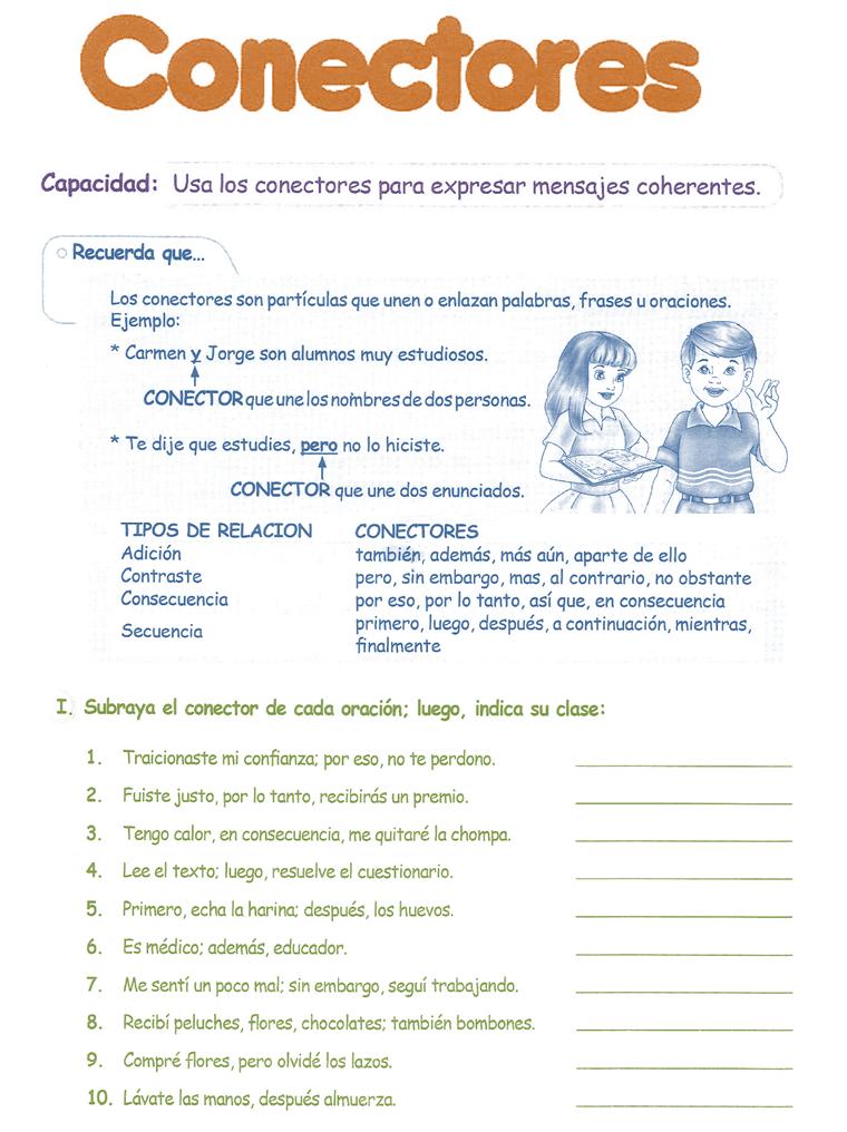 Conectores para niños 4° Grado Primaria | Razonamiento Verbal ...