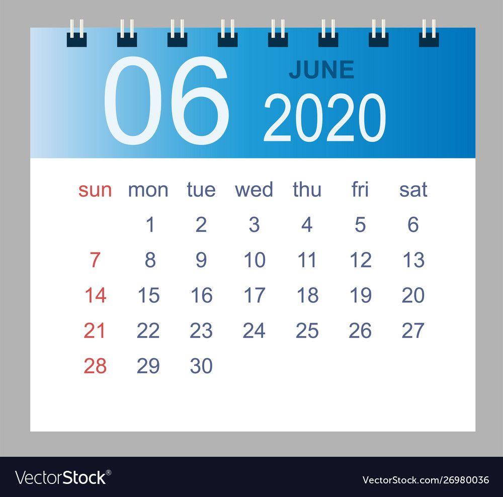 June 2020 monthly calendar template 2020 year in Vector