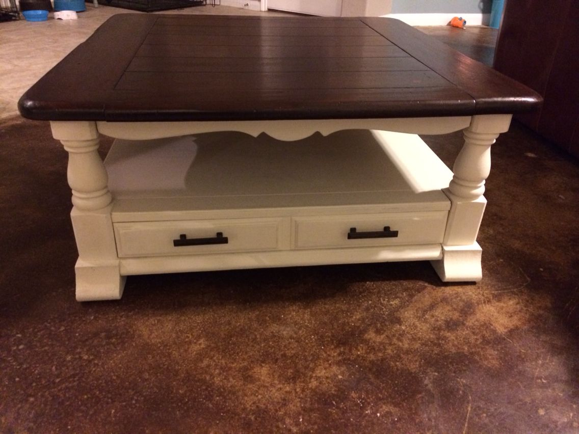 Bassett Coffee Table Revived With Annie Sloan Vintage White And General  Finished Java Gel Stain