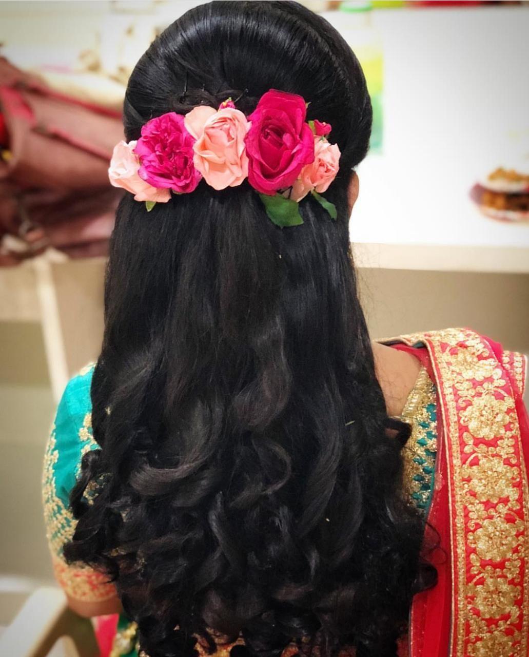 Hair model  Loose hairstyles, Floral bridal hair accessories