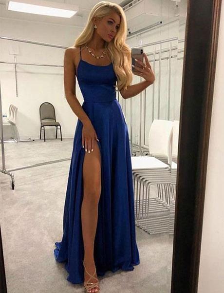 Navy Blue Prom Dresses Spaghetti Straps Evening Dresses Split Front  Dresses a line