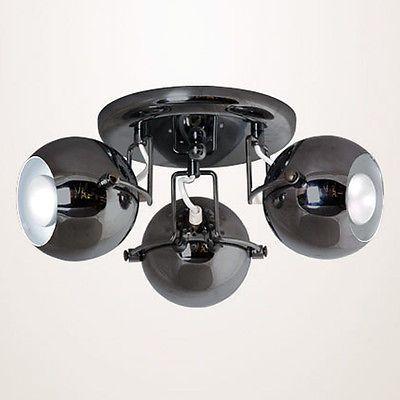 Retro Black Chrome Eyeball 3 Way Ceiling Lamp Spotlight
