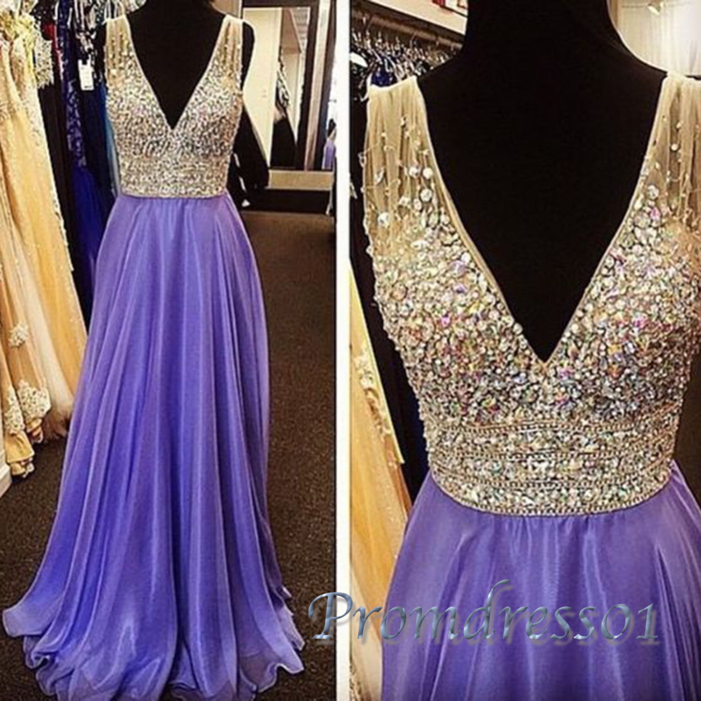 Elegant deepv beaded purple chiffon prom dress for teens long