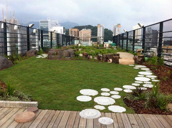 Rooftop Garden spectacular rooftop gardens wooden deck garden path lawn