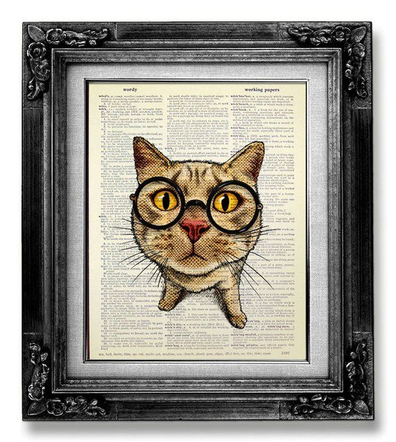 Dictionary Art Print Printed On Authentic Vintage Cat Portrait Steampunk