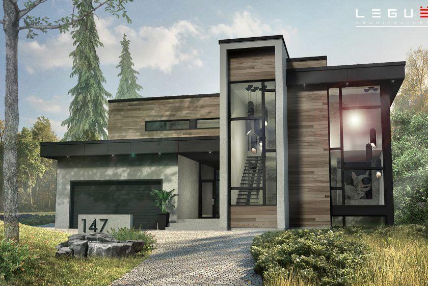 Plans de maisons avec garage contemporaines Leguë Architecture