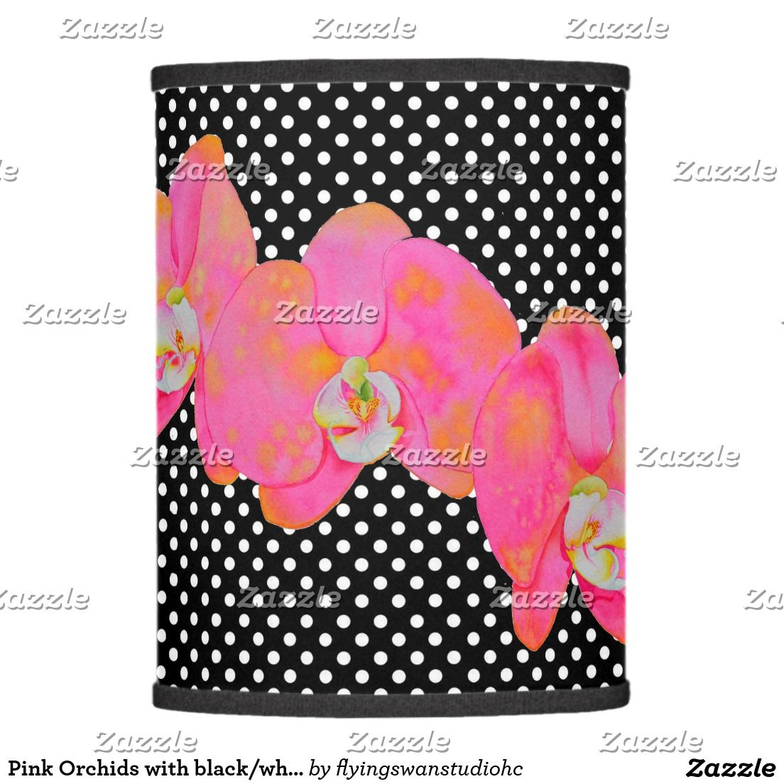 Pink orchids with blackwhite polka dots lamp shade pink orchids pink orchids with blackwhite polka dots lamp shade aloadofball Gallery