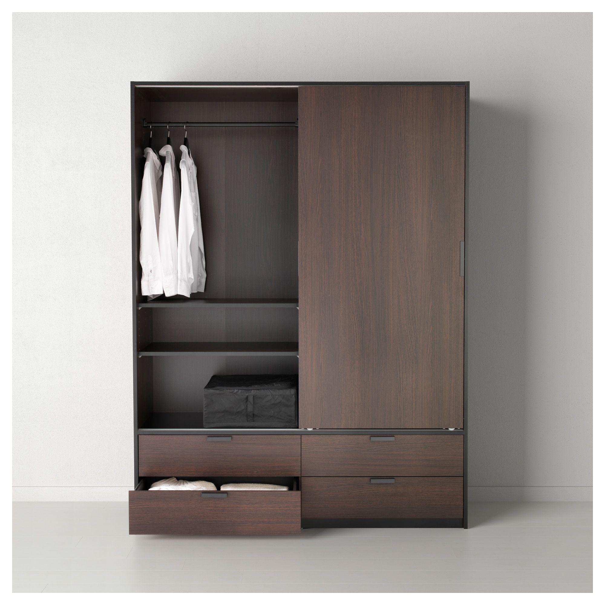TRYSIL Ντουλάπα με συρόμ πόρτες/4 συρτάρια - IKEA   Wardrobe ...