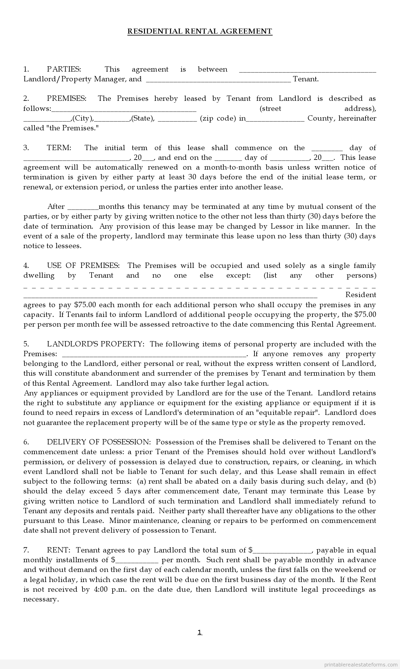 Free Lease Agreement Form Printable Real Estate Forms Lease Agreement Rental Agreement Templates Being A Landlord