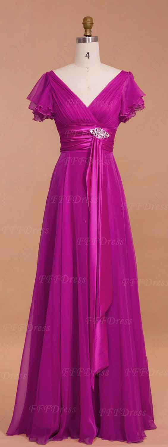 Modest Magenta Mother of the Bride Dresses with Sleeves | Moda ...