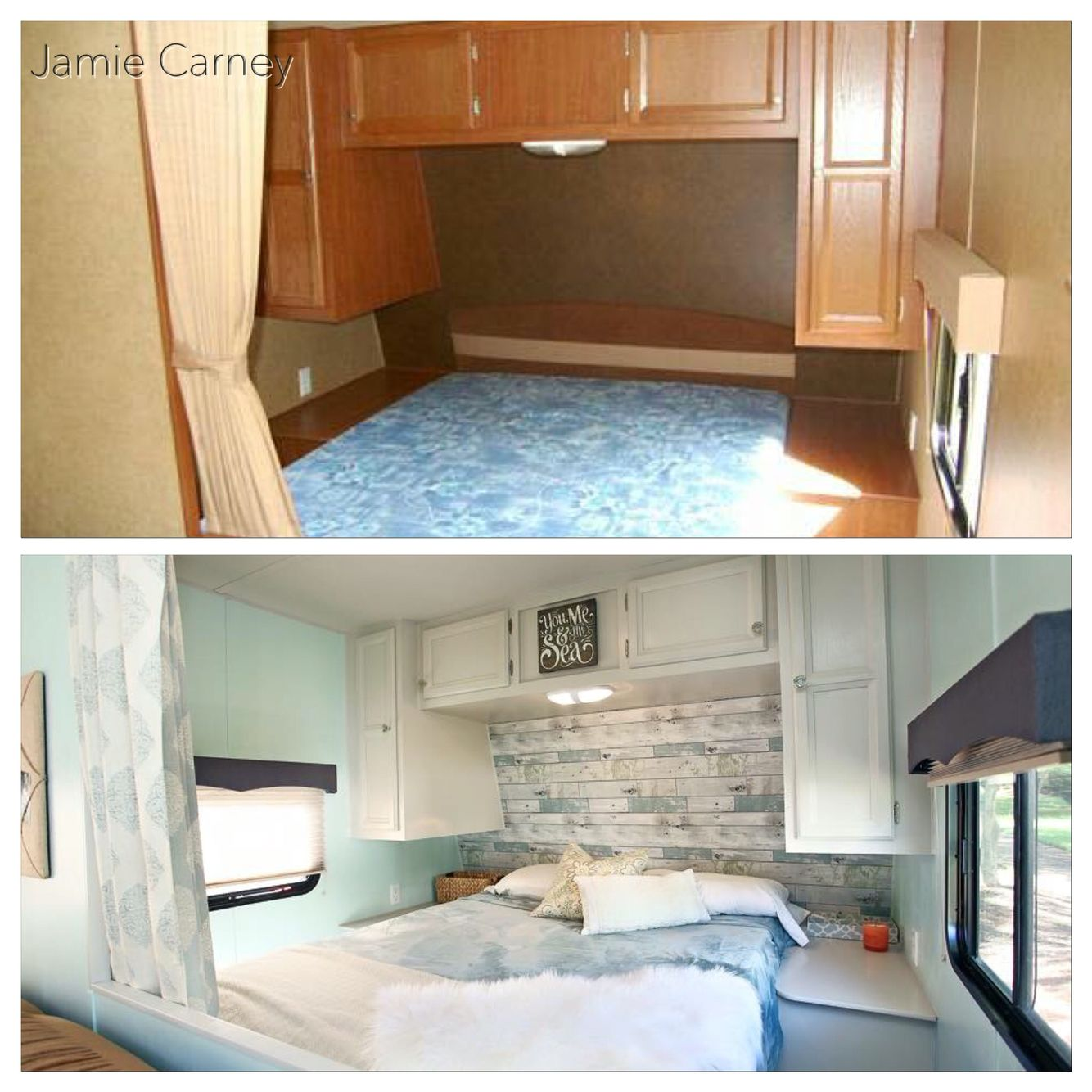 Beach theme master bedroom redo in a travel trailer How to redo a bedroom cheap