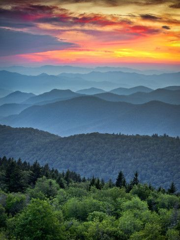 Blue Ridge Parkway Scenic Landscape Appalachian Mountains Ridges Sunset Layers Photographic Print - daveallenphoto | AllPosters.com