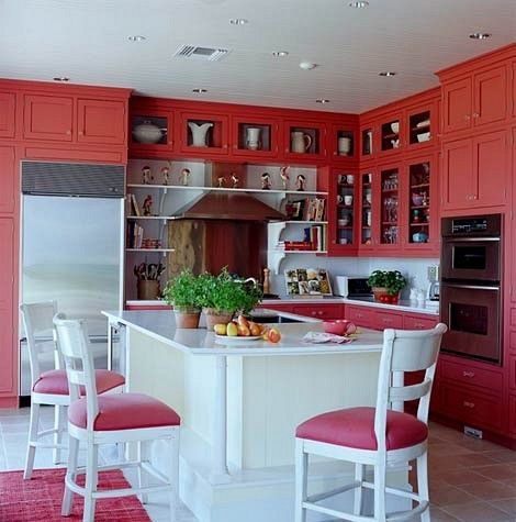 kitchen whose cabinets are painted a vibrant coral color decor