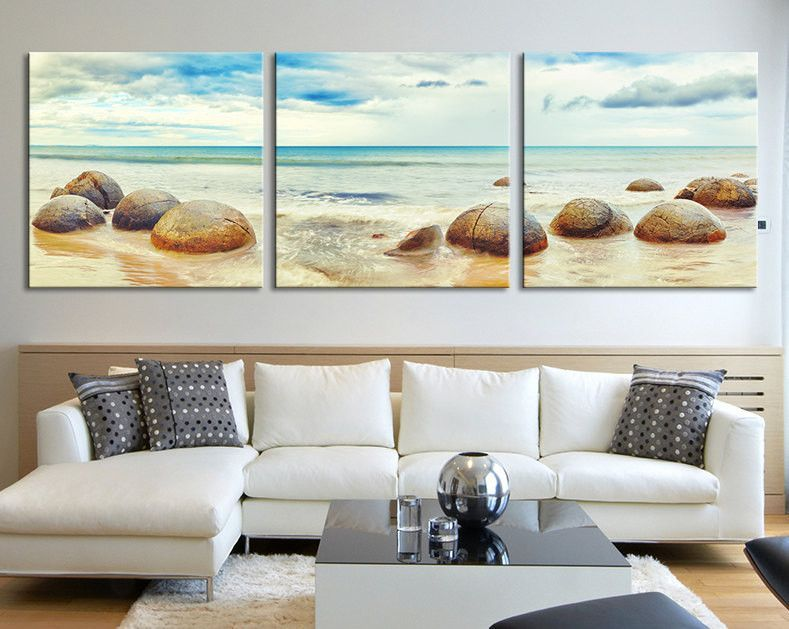 Canvas Art Moeraki Boulders  Ocean Seascape Panorama At Moeraki Adorable Large Artwork For Living Room Design Decoration