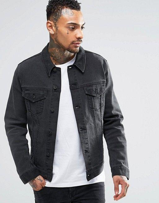 c27d5e36c82 DESIGN denim 'Richard' jacket in washed black | wear dat | Jackets ...