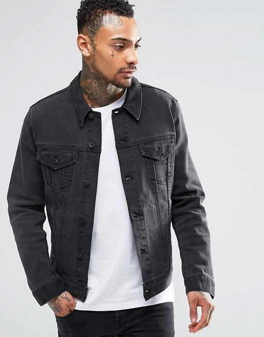 27c83bf20a309 DESIGN denim 'Richard' jacket in washed black | wear dat | Denim ...