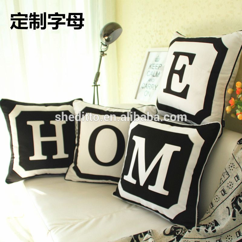 Any latin letter word saying customize on canvas pillow HOME alphabet printed cushion cover