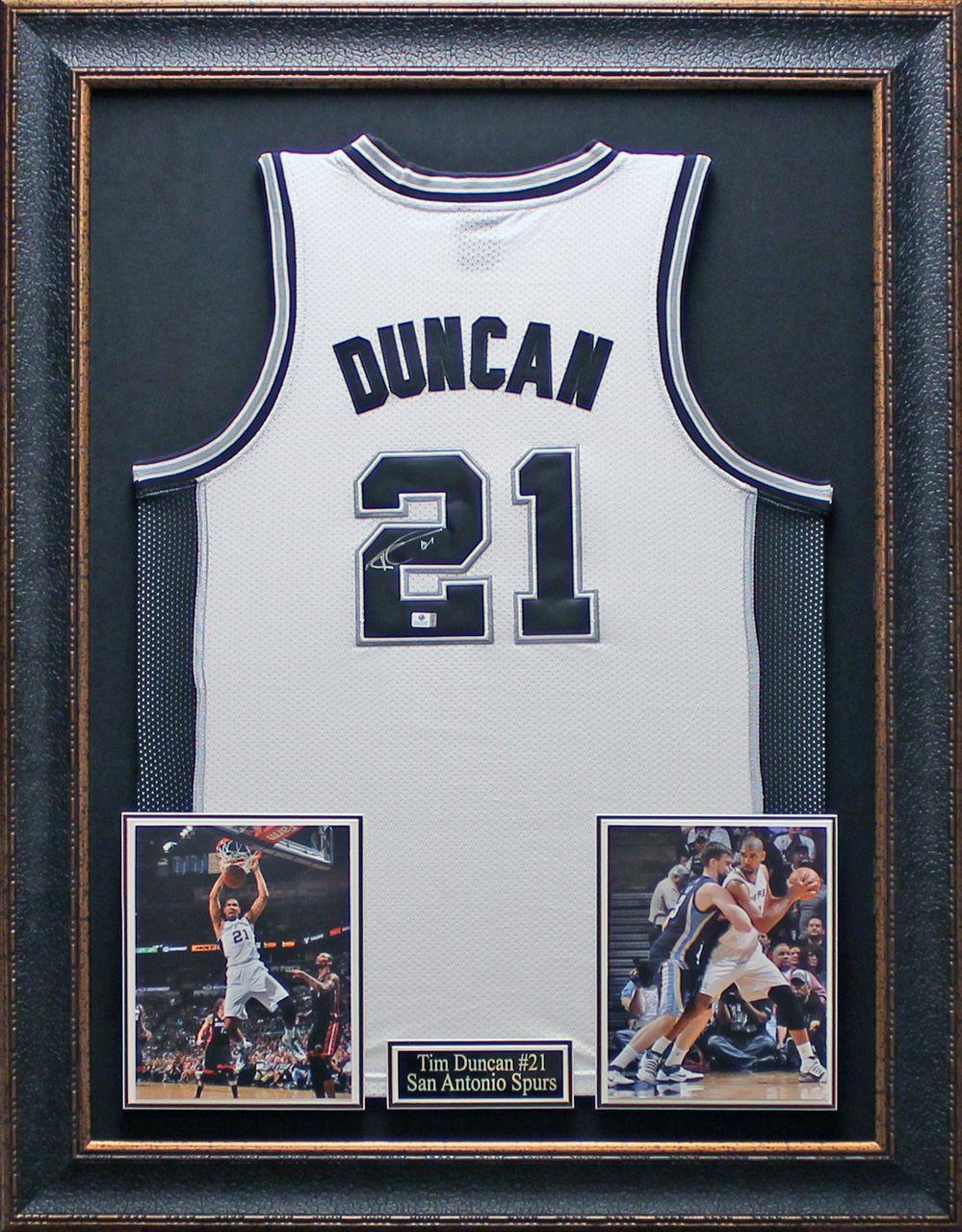 5fc5175e585 Tim Duncan Autographed Jersey Framed