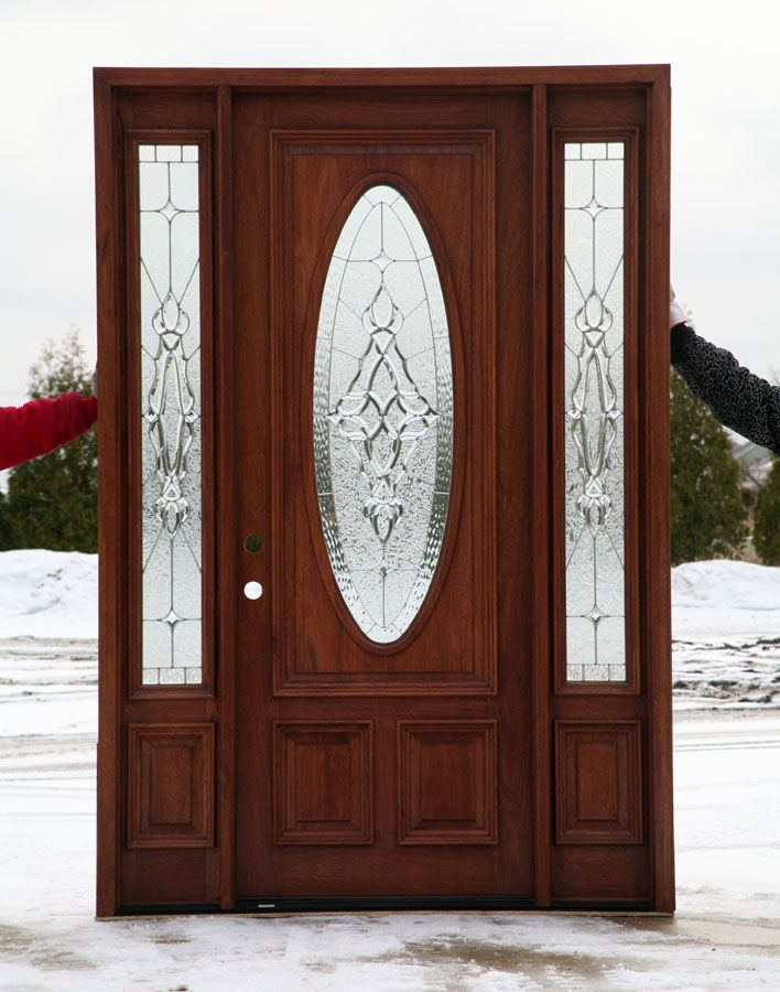 Front door with leaded glass oval pinteres for Wood and glass front door