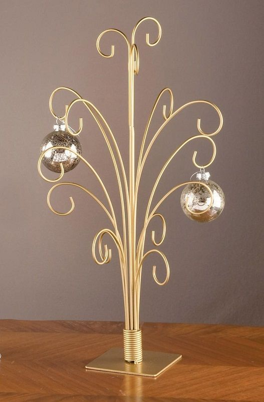 20 Gold Toned Metal Christmas Ornament Display Tree Stand Holds