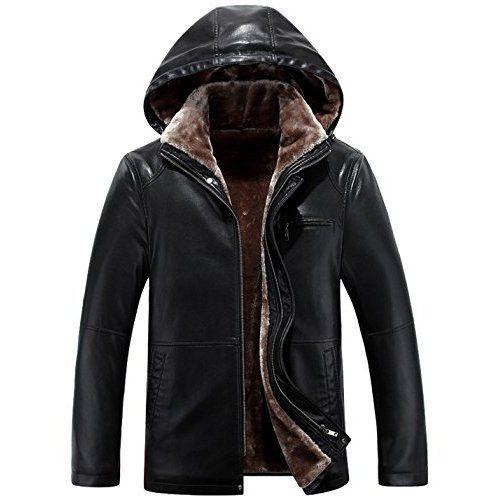 PU Leather Men Brown Shearling Leather Swedish Mens Long Coat (XS)