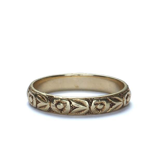 Beautiful Art Deco Wedding Band Has Engraved Fl Motif Going All The Way Around 14k