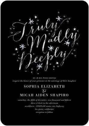 31d484100b2b9f8af3890a53b74bb64c truly, madly, deeply show your love with this font focused,Truly Madly Deeply Invitations