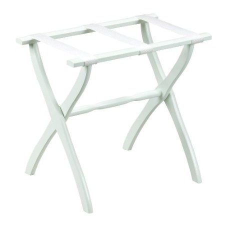 Amazon.com: Gate House Furniture Item 1403 White Contoured Leg Luggage Rack with 3 White Nylon Straps 23 by 13 by 20-Inch: Home & Kitchen