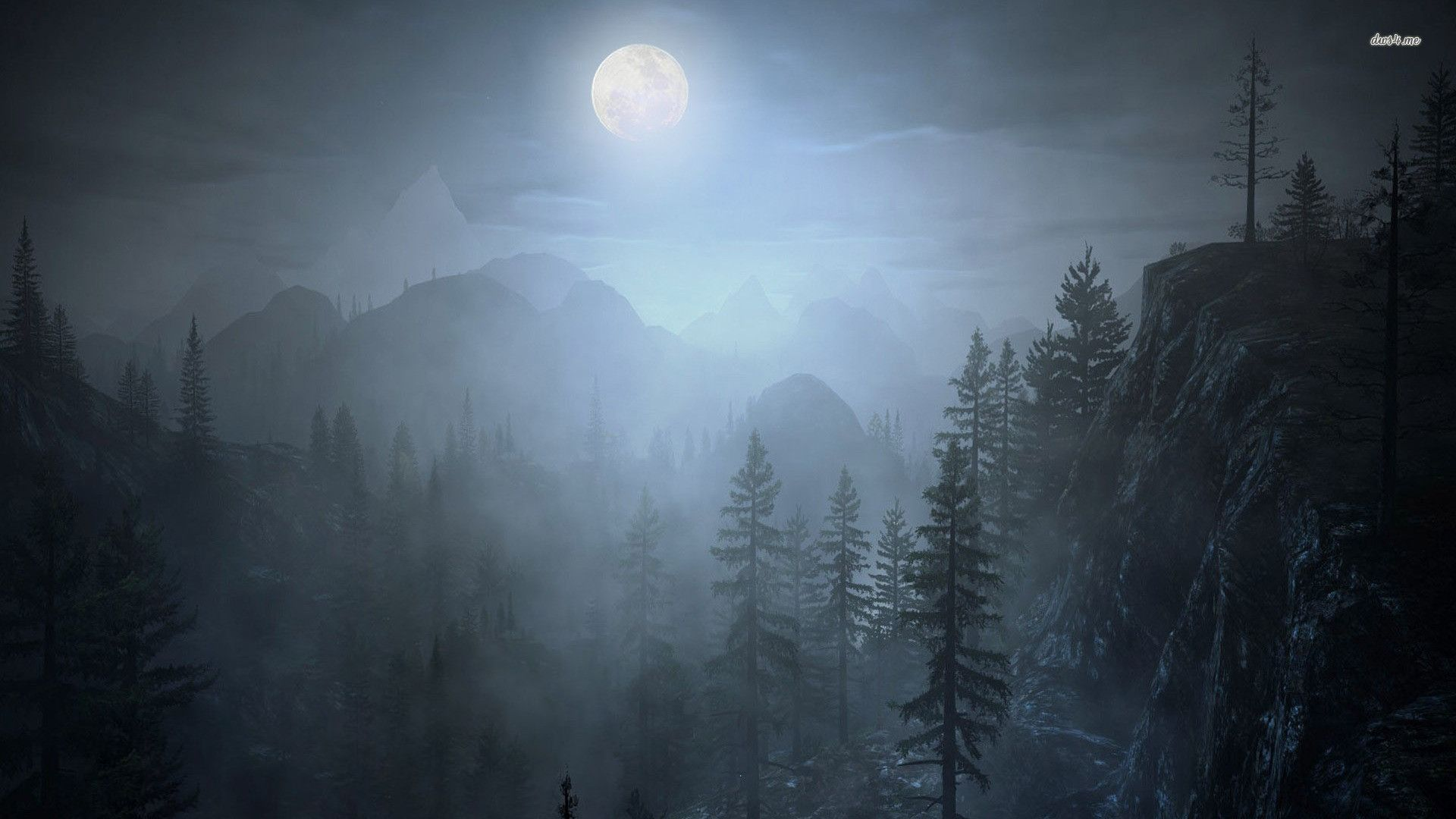 1920x1080 Fog Forest Night Night Forest Forest Painting Forest Illustration