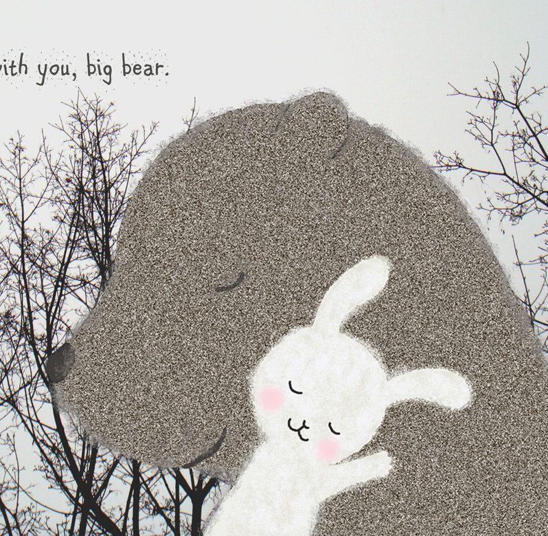 Print of Original Illustration Bear Bunny Natural Woodland Love Grey White Pastel Pink