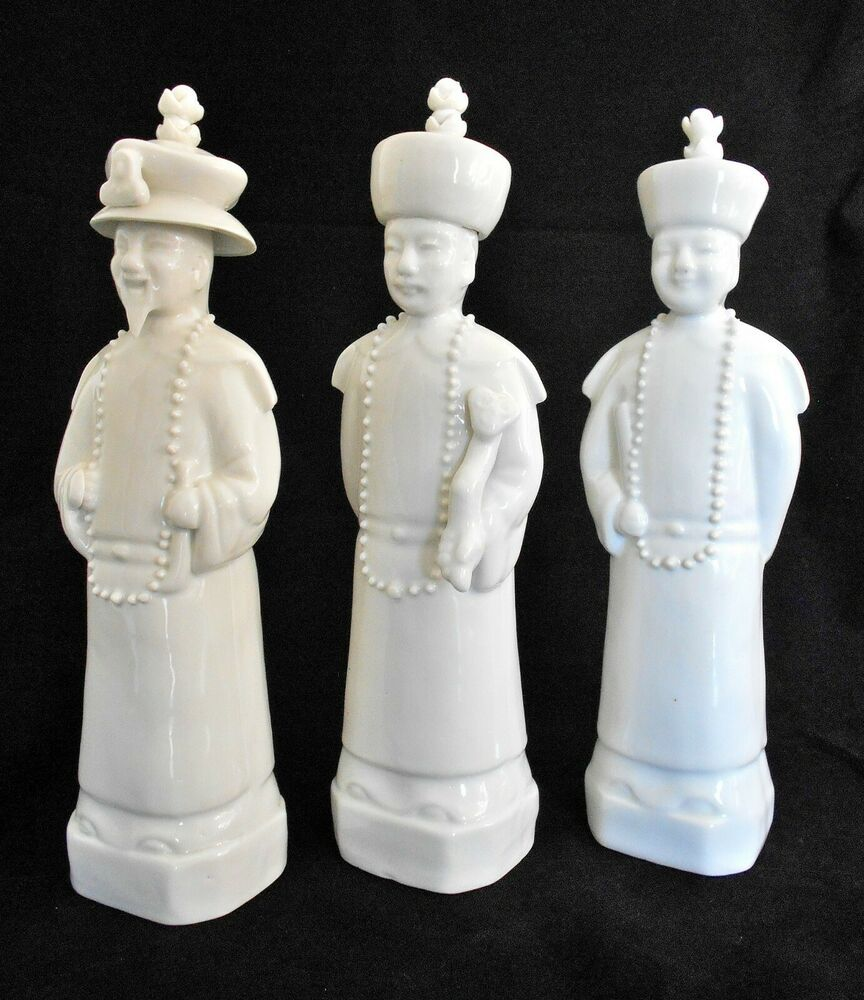 Vintage Set Of 3 Porcelain Chinese Qing Dynasty Emperor Sculptures Chinese Emperor Sculptures Qing Dynasty