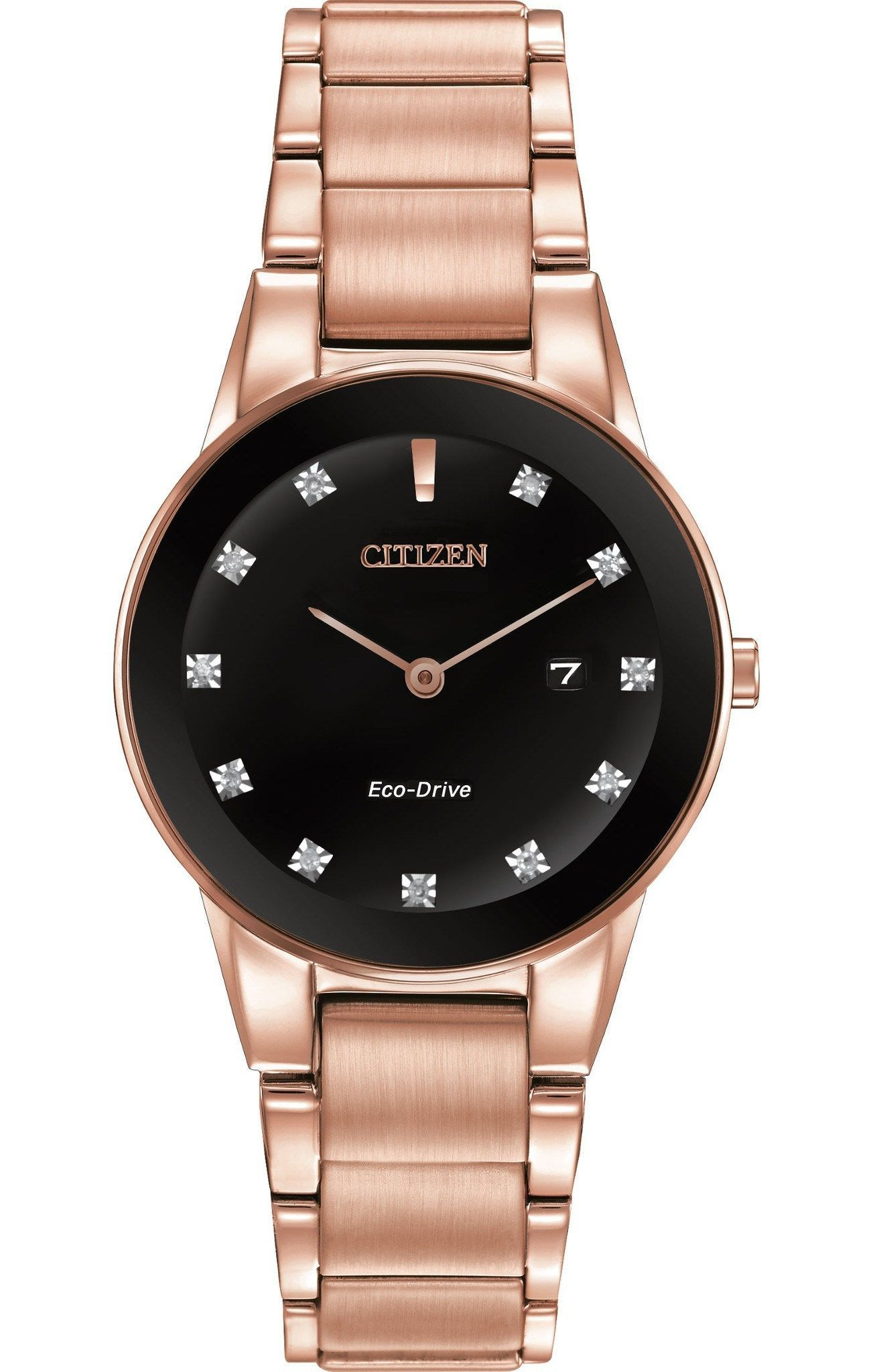 Citizen Eco-Drive Women s Axiom Diamond Pink Gold-Tone Watch. This Eco-Drive  watch is powered by light and never needs a battery. 3bb3112df