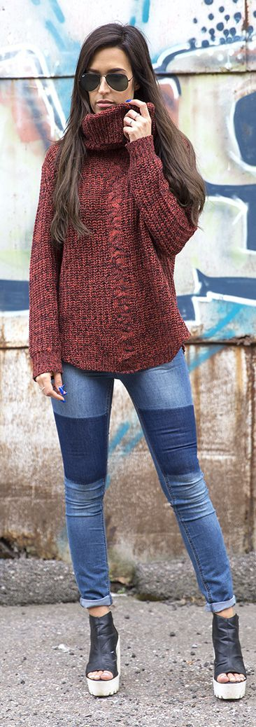 Choice By Anna Rusty Knit Patched Skinnies Outfit Idea