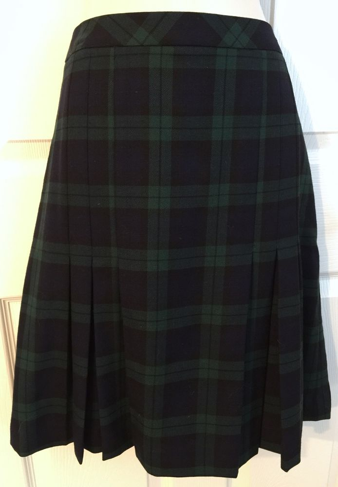 41aebcc22f5135 Brooks Brothers 346 Women's 100 Wool Skirt 10 Black Watch Plaid A Line  Pleated | eBay