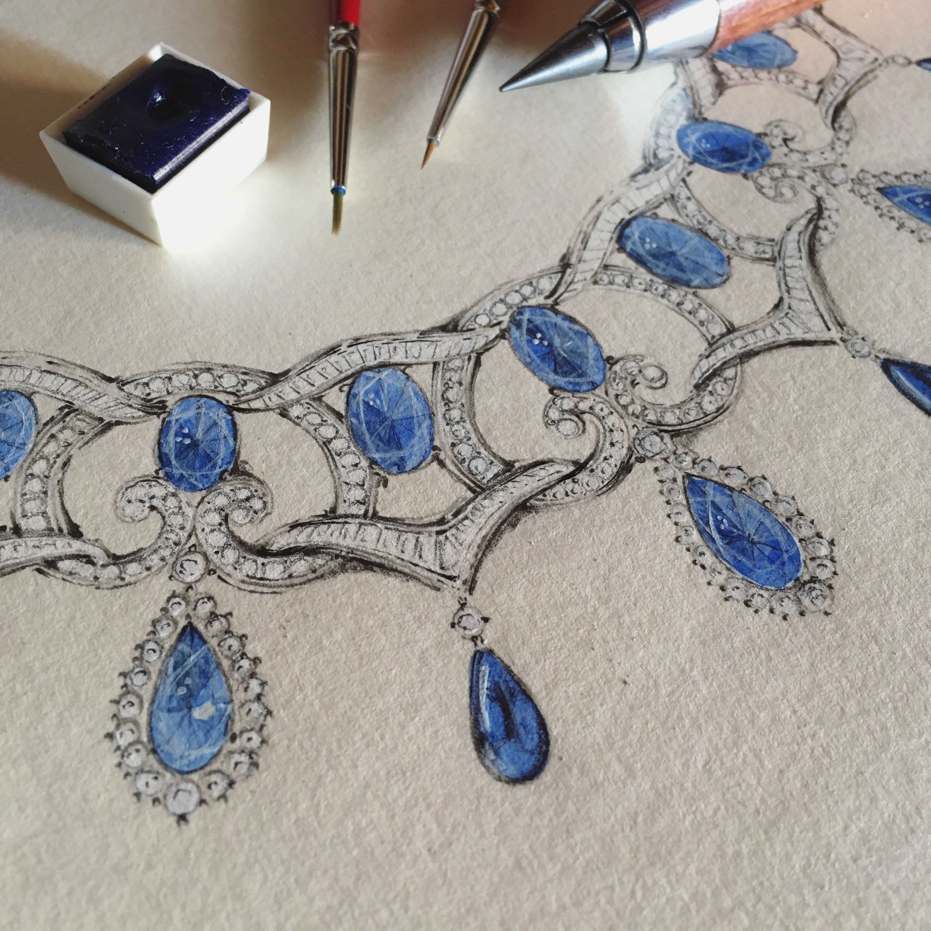 Blu Sapphires And Diamonds Necklace Art Jewelry Design Jewellery Sketches Indian Jewellery Design Earrings