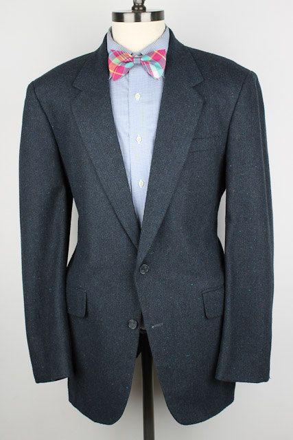 Dark Blue Herringbone Mens Tweed Jacket  by ThePlaidBowTie on Etsy