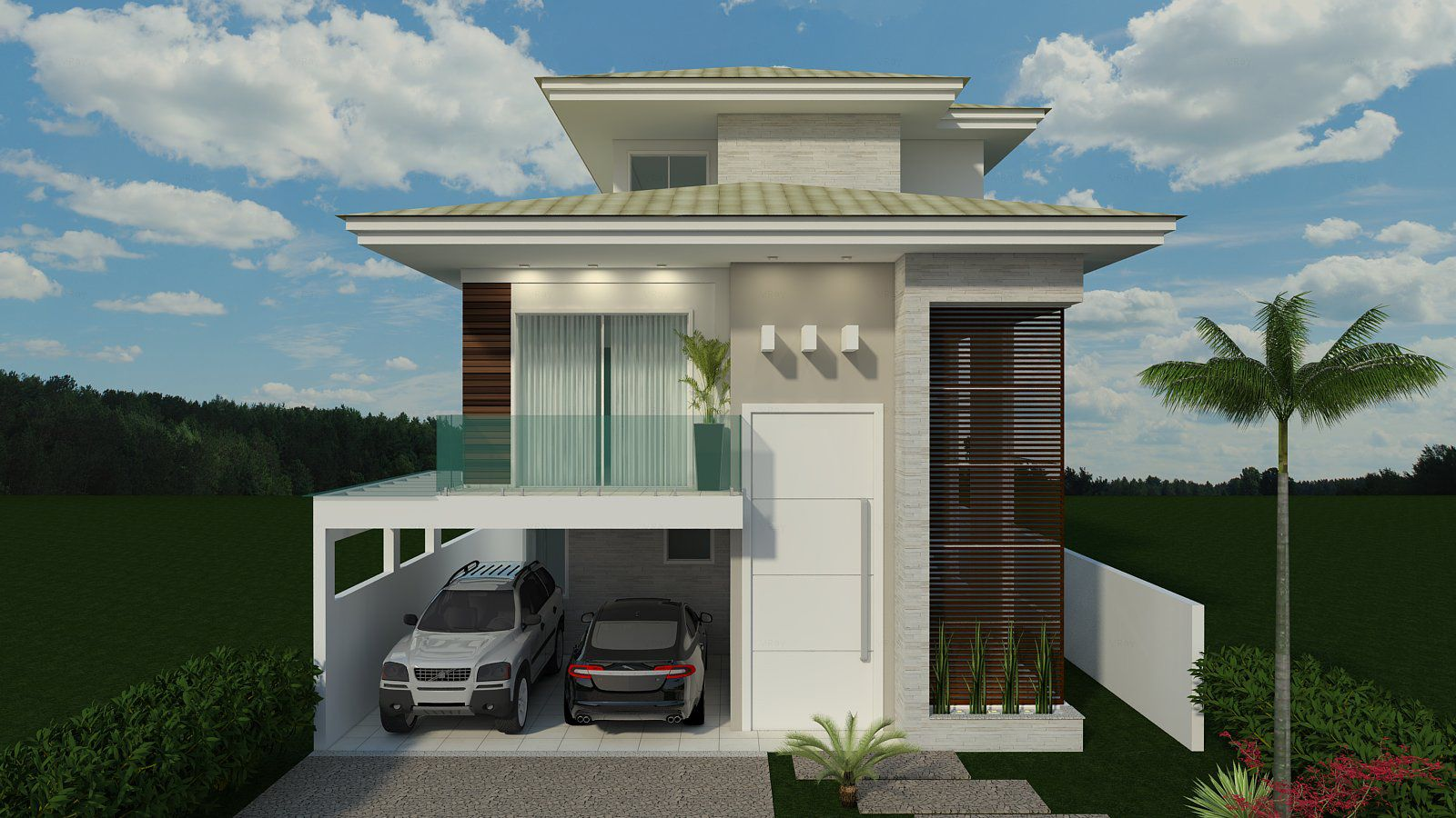 Casas modernas com telhado pesquisa google casas for Casas de container modernas